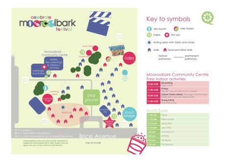 Festival site map and activities inside the Mooroolbark Community Centre