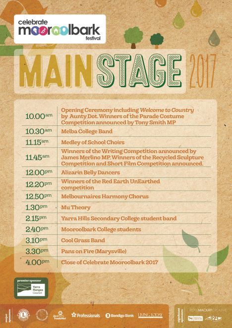 Celebrate Mooroolbark 2017 main stage program