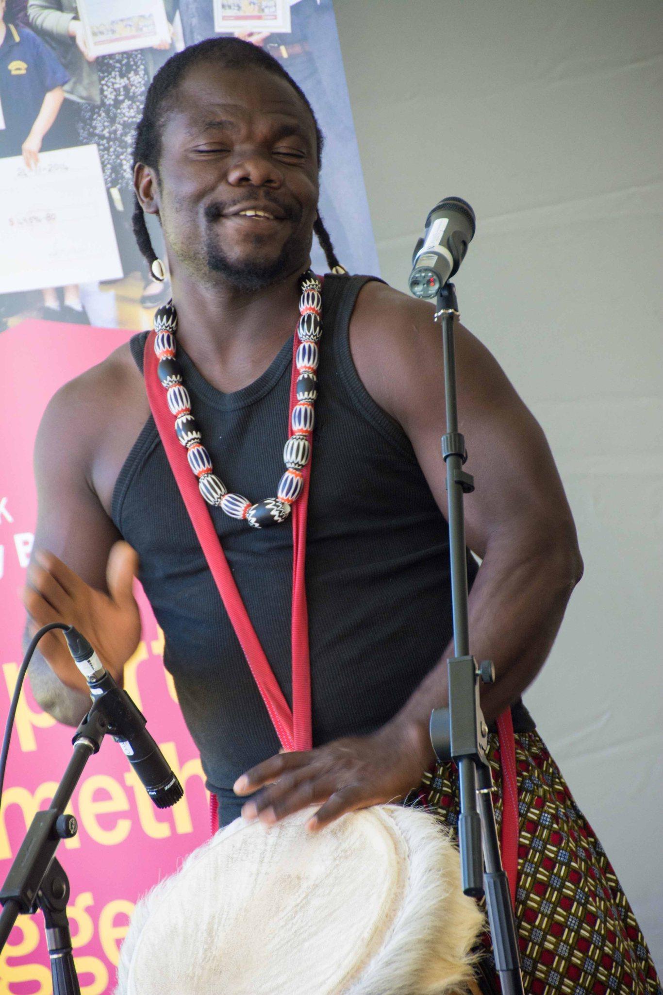 Kofi Kunkpe, Master West African Drummer. Photo by Greg Carrick.