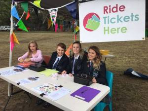 Volunteers from Mooroolbark College ready to sell ride tickets at Celebrate Mooroolbark 2016. Photo by Cathy Grbac.