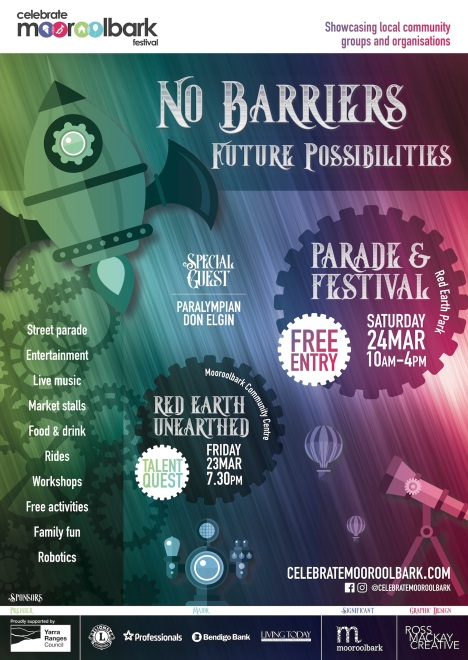 Celebrate Mooroolbark 2018: No Barriers Future Possibilities. Poster