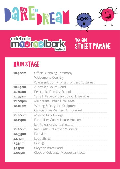 2019 Celebrate Mooroolbark main stage program