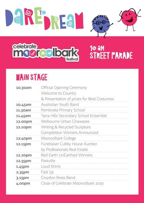2019 Celebrate Mooroolbark main stage program