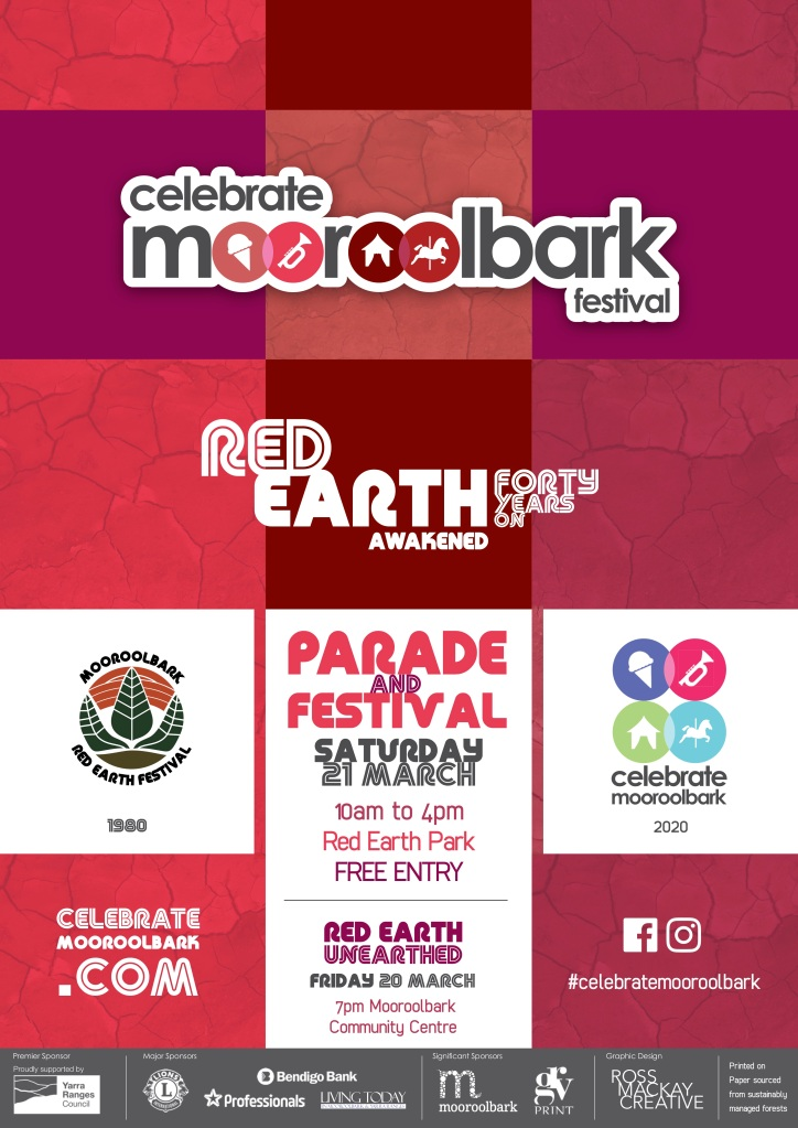Celebrate Mooroolbark 2020 Red Earth Awakened - 40 years on Poster