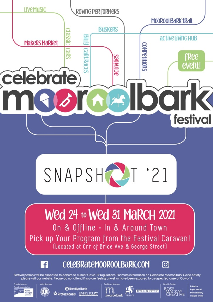 Celebrate Mooroolbark 2021, Theme: Snapshop '21, Wed 24 - Wed 31 March 2021, In and Around town Pick up your program from the Festival Caravan, located in the front Terrace car park, on the corner of Brice Avenue and George Street.